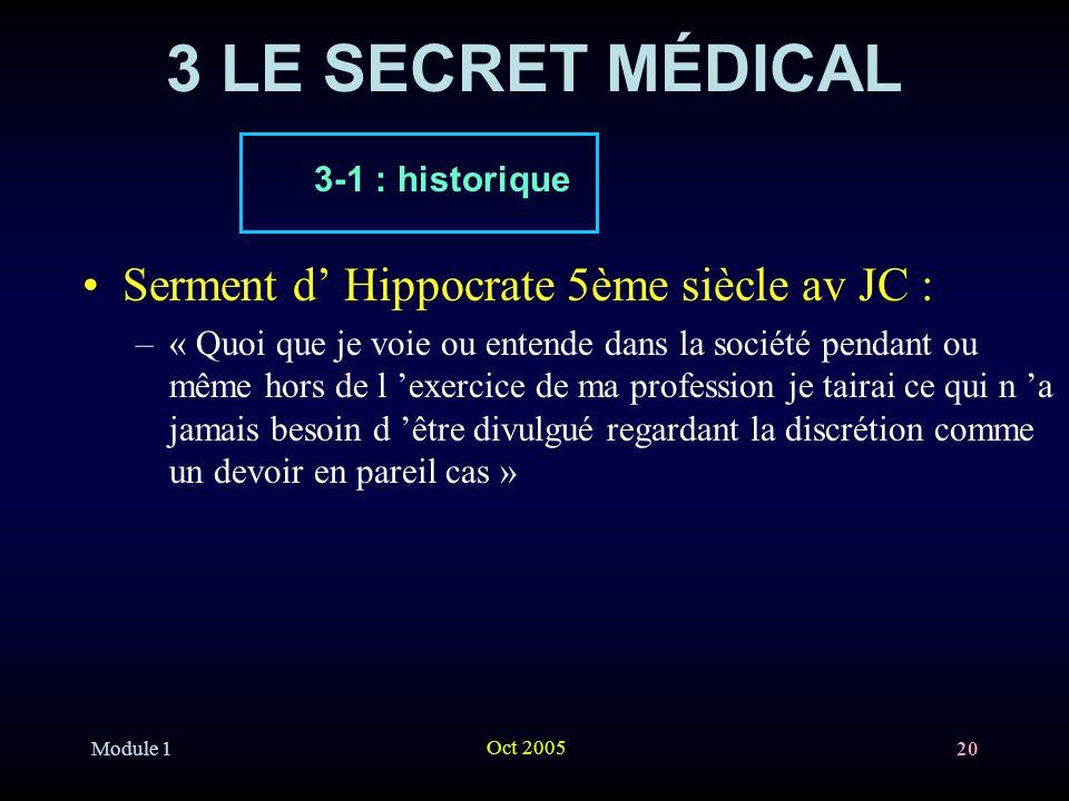 3 LE SECRET MÉDICAL Serment d' Hippocrate 5ème siècle av JC :