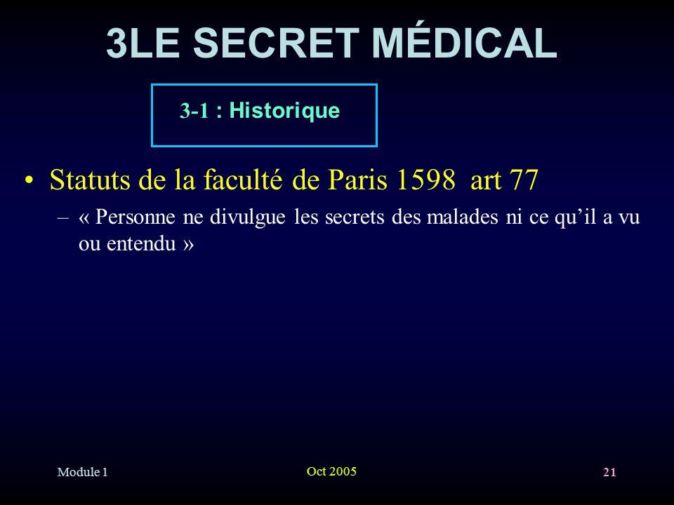 3LE SECRET MÉDICAL Statuts de la faculté de Paris 1598 art 77