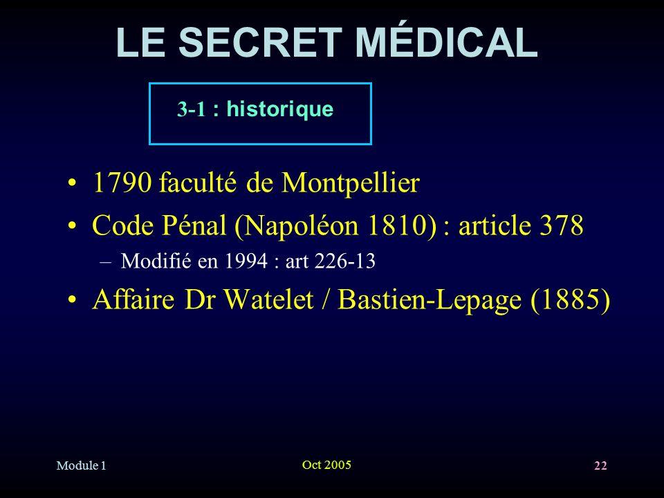 LE SECRET MÉDICAL 1790 faculté de Montpellier