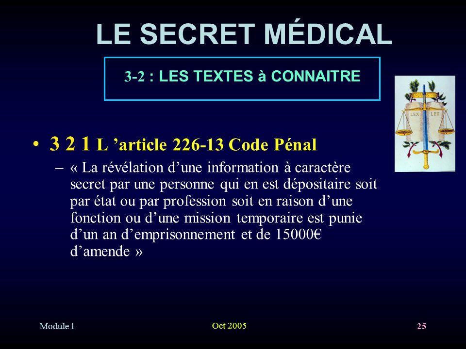 LE SECRET MÉDICAL 3 2 1 L 'article 226-13 Code Pénal
