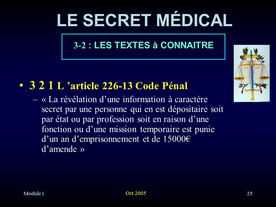 LE SECRET MÉDICAL L 'article Code Pénal