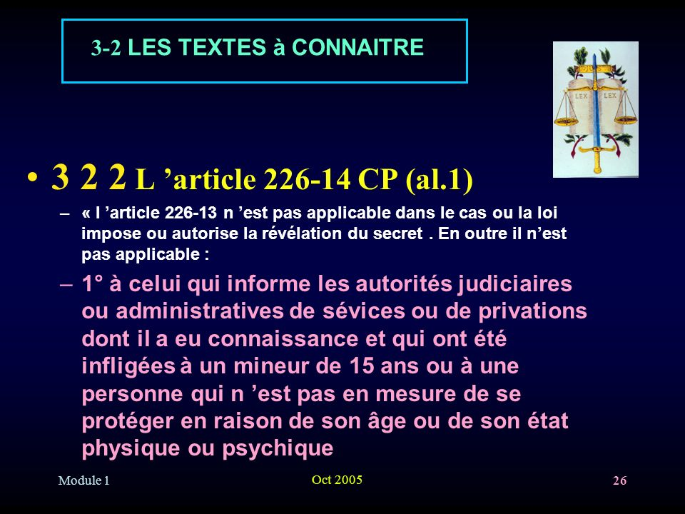 3 2 2 L 'article 226-14 CP (al.1) 3-2 LES TEXTES à CONNAITRE