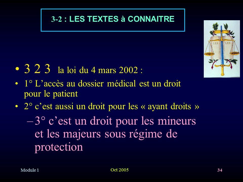3-2 : LES TEXTES à CONNAITRE