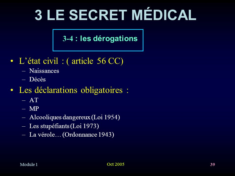 3 LE SECRET MÉDICAL L'état civil : ( article 56 CC)