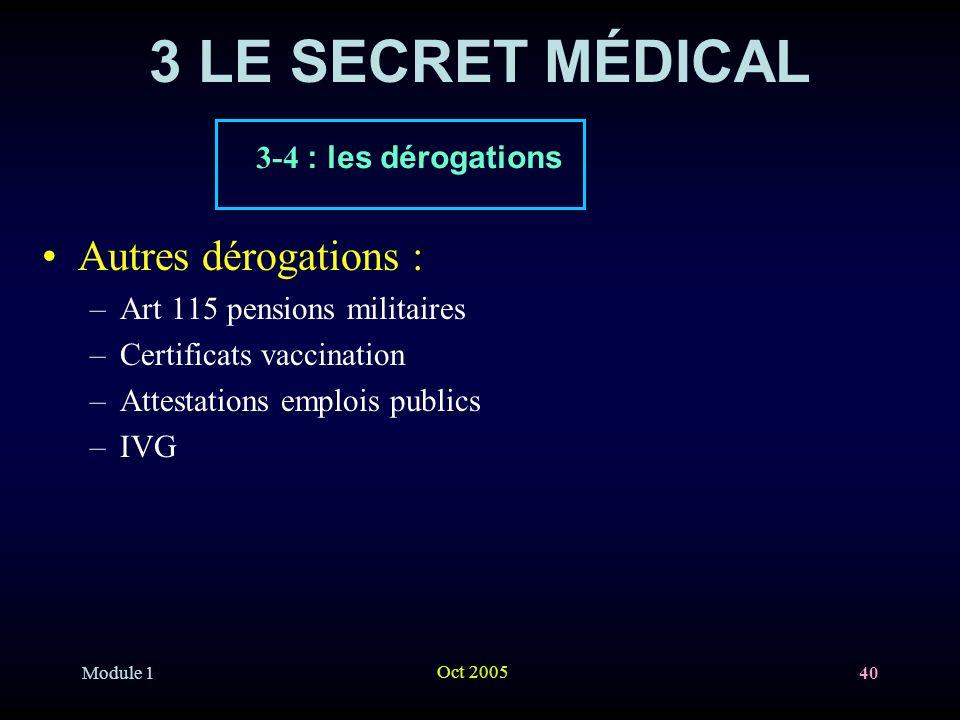 3 LE SECRET MÉDICAL Autres dérogations : 3-4 : les dérogations