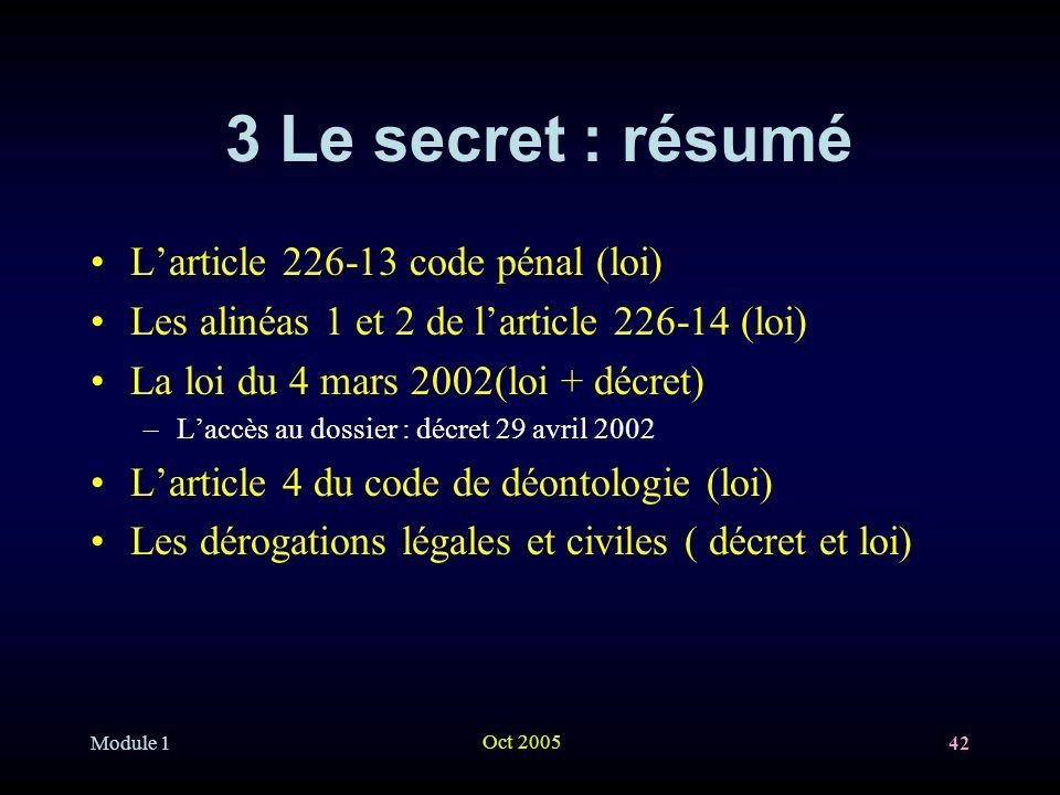 3 Le secret : résumé L'article 226-13 code pénal (loi)