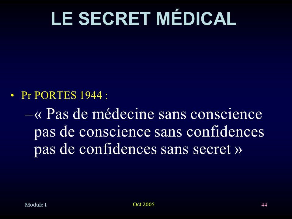 LE SECRET MÉDICAL Pr PORTES 1944 : « Pas de médecine sans conscience pas de conscience sans confidences pas de confidences sans secret »