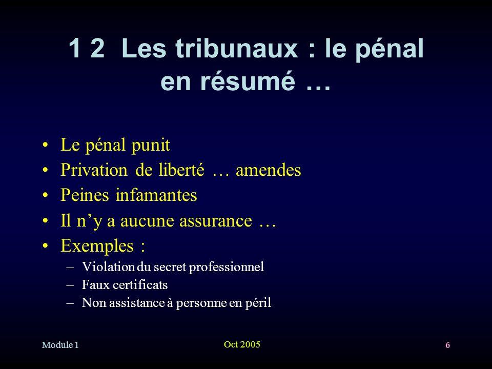 1 2 Les tribunaux : le pénal en résumé …