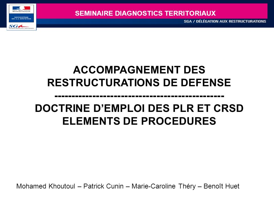 SEMINAIRE DIAGNOSTICS TERRITORIAUX