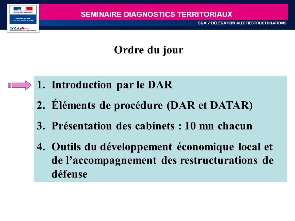 Introduction par le DAR Éléments de procédure (DAR et DATAR)
