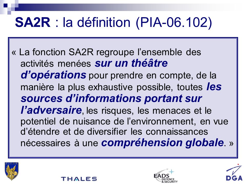 SA2R : la définition (PIA-06.102)