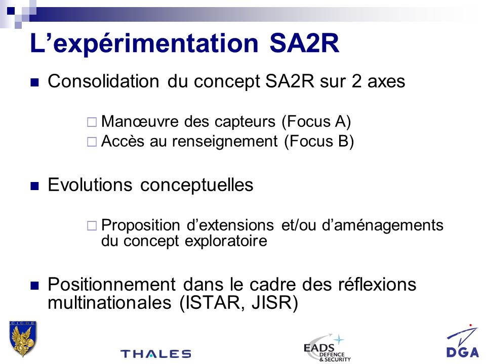 L'expérimentation SA2R
