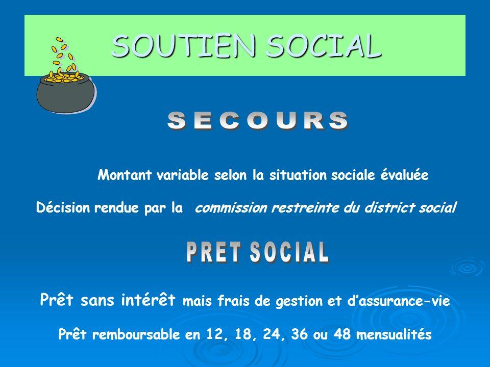 SOUTIEN SOCIAL SECOURS. Montant variable selon la situation sociale évaluée. Décision rendue par la commission restreinte du district social.