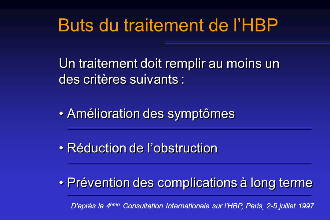 Buts du traitement de l'HBP