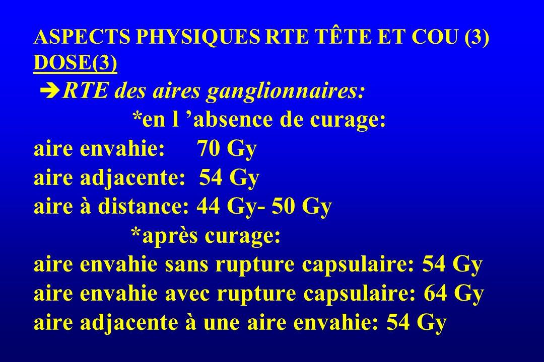 ASPECTS PHYSIQUES RTE TÊTE ET COU (3) DOSE(3) RTE des aires ganglionnaires: *en l 'absence de curage: aire envahie: 70 Gy aire adjacente: 54 Gy aire à distance: 44 Gy- 50 Gy *après curage: aire envahie sans rupture capsulaire: 54 Gy aire envahie avec rupture capsulaire: 64 Gy aire adjacente à une aire envahie: 54 Gy