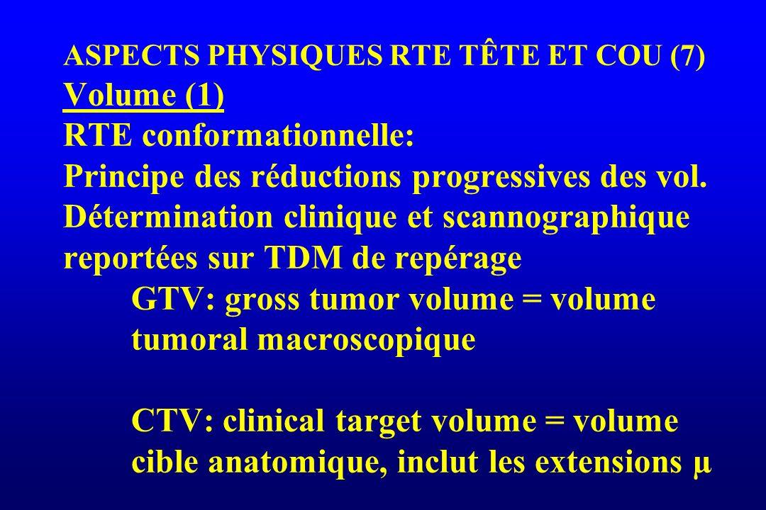 ASPECTS PHYSIQUES RTE TÊTE ET COU (7) Volume (1) RTE conformationnelle: Principe des réductions progressives des vol.