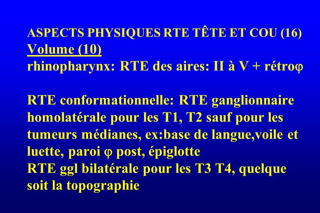 ASPECTS PHYSIQUES RTE TÊTE ET COU (16) Volume (10) rhinopharynx: RTE des aires: II à V + rétro RTE conformationnelle: RTE ganglionnaire homolatérale pour les T1, T2 sauf pour les tumeurs médianes, ex:base de langue,voile et luette, paroi  post, épiglotte RTE ggl bilatérale pour les T3 T4, quelque soit la topographie