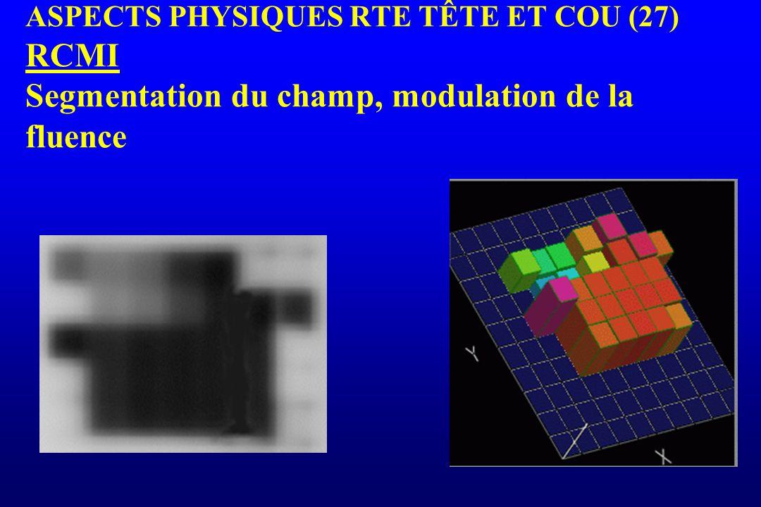 ASPECTS PHYSIQUES RTE TÊTE ET COU (27) RCMI Segmentation du champ, modulation de la fluence
