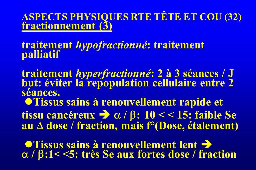 ASPECTS PHYSIQUES RTE TÊTE ET COU (32) fractionnement (3) traitement hypofractionné: traitement palliatif traitement hyperfractionné: 2 à 3 séances / J but: éviter la repopulation cellulaire entre 2 séances.