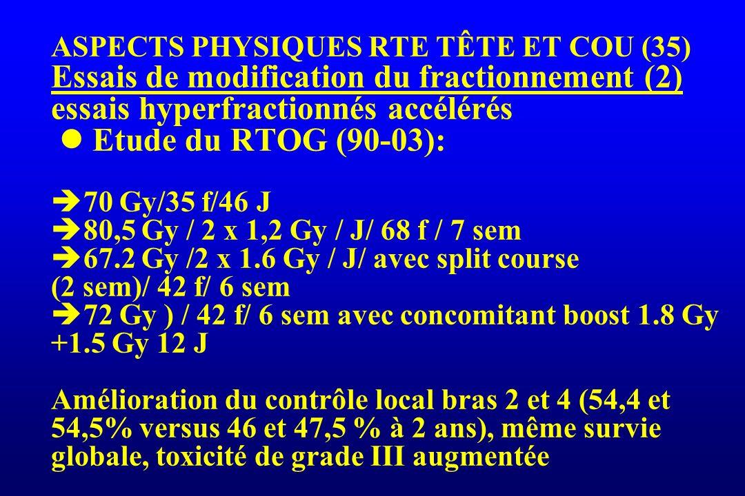 ASPECTS PHYSIQUES RTE TÊTE ET COU (35) Essais de modification du fractionnement (2) essais hyperfractionnés accélérés  Etude du RTOG (90-03): 70 Gy/35 f/46 J 80,5 Gy / 2 x 1,2 Gy / J/ 68 f / 7 sem 67.2 Gy /2 x 1.6 Gy / J/ avec split course (2 sem)/ 42 f/ 6 sem 72 Gy ) / 42 f/ 6 sem avec concomitant boost 1.8 Gy +1.5 Gy 12 J Amélioration du contrôle local bras 2 et 4 (54,4 et 54,5% versus 46 et 47,5 % à 2 ans), même survie globale, toxicité de grade III augmentée