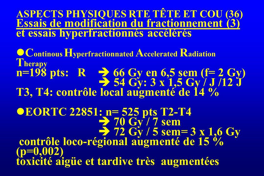 ASPECTS PHYSIQUES RTE TÊTE ET COU (36) Essais de modification du fractionnement (3) et essais hyperfractionnés accélérés Continous Hyperfractionnated Accelerated Radiation Therapy n=198 pts: R  66 Gy en 6,5 sem (f= 2 Gy)  54 Gy: 3 x 1,5 Gy / J /12 J T3, T4: contrôle local augmenté de 14 % EORTC 22851: n= 525 pts T2-T4  70 Gy / 7 sem  72 Gy / 5 sem= 3 x 1,6 Gy contrôle loco-régional augmenté de 15 % (p=0,002) toxicité aigüe et tardive très augmentées