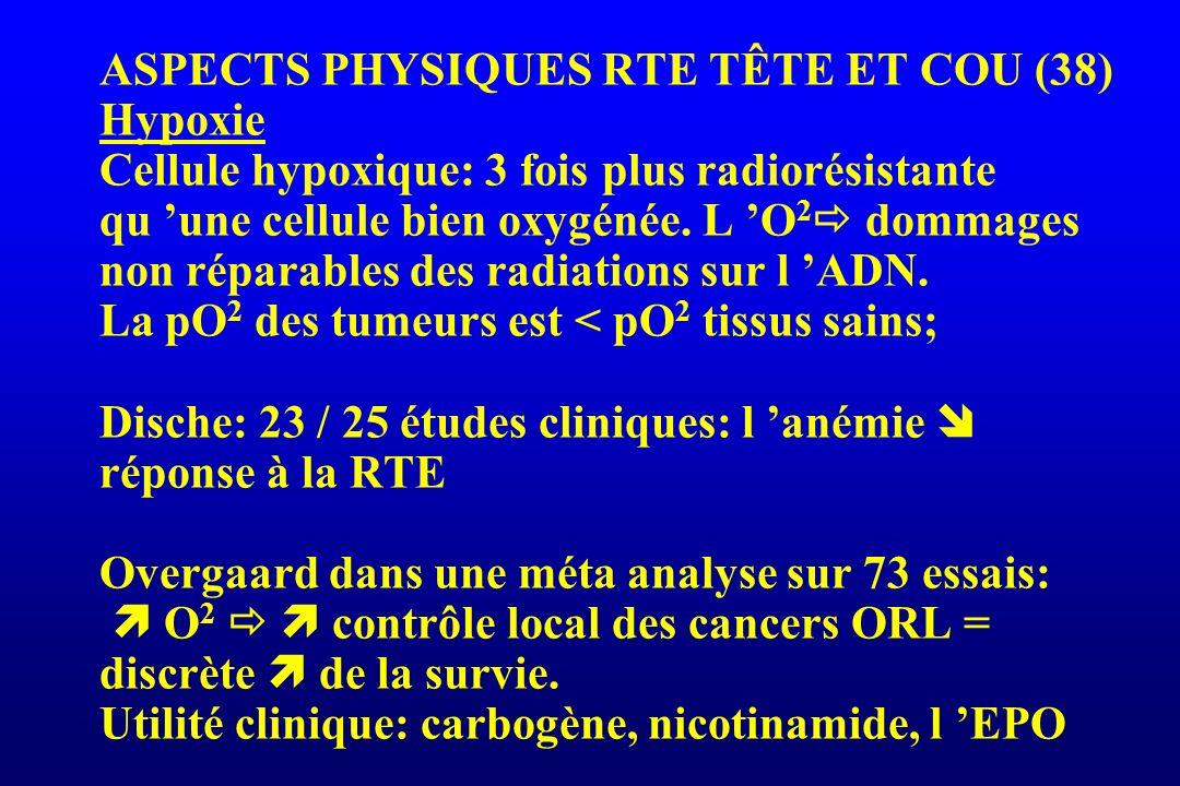 ASPECTS PHYSIQUES RTE TÊTE ET COU (38) Hypoxie Cellule hypoxique: 3 fois plus radiorésistante qu 'une cellule bien oxygénée. L 'O2 dommages non réparables des radiations sur l 'ADN. La pO2 des tumeurs est < pO2 tissus sains; Dische: 23 / 25 études cliniques: l 'anémie  réponse à la RTE Overgaard dans une méta analyse sur 73 essais:  O2   contrôle local des cancers ORL = discrète  de la survie. Utilité clinique: carbogène, nicotinamide, l 'EPO