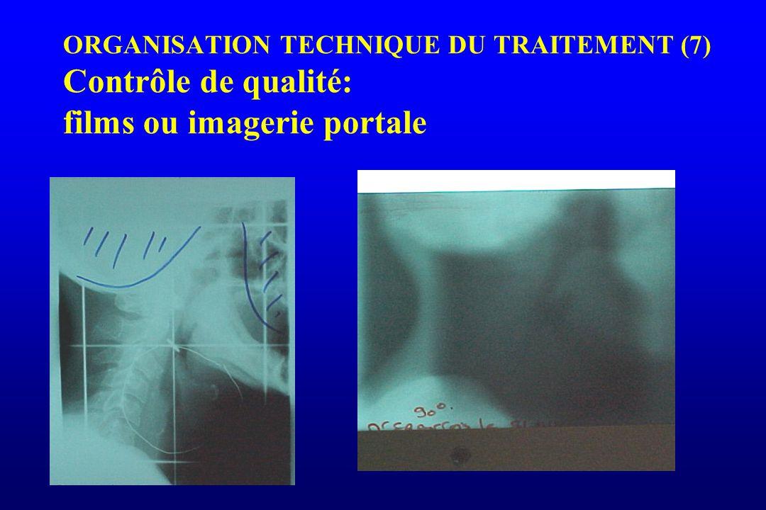 ORGANISATION TECHNIQUE DU TRAITEMENT (7) Contrôle de qualité: films ou imagerie portale