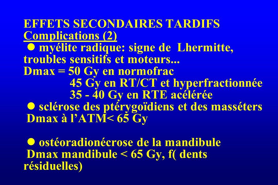 EFFETS SECONDAIRES TARDIFS Complications (2)  myélite radique: signe de Lhermitte, troubles sensitifs et moteurs...