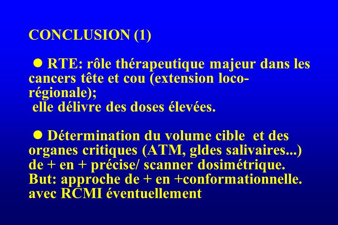 CONCLUSION (1)  RTE: rôle thérapeutique majeur dans les cancers tête et cou (extension loco-régionale); elle délivre des doses élevées.