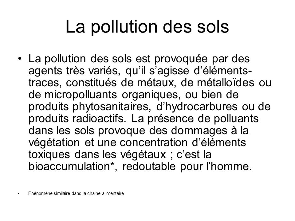 La pollution des sols