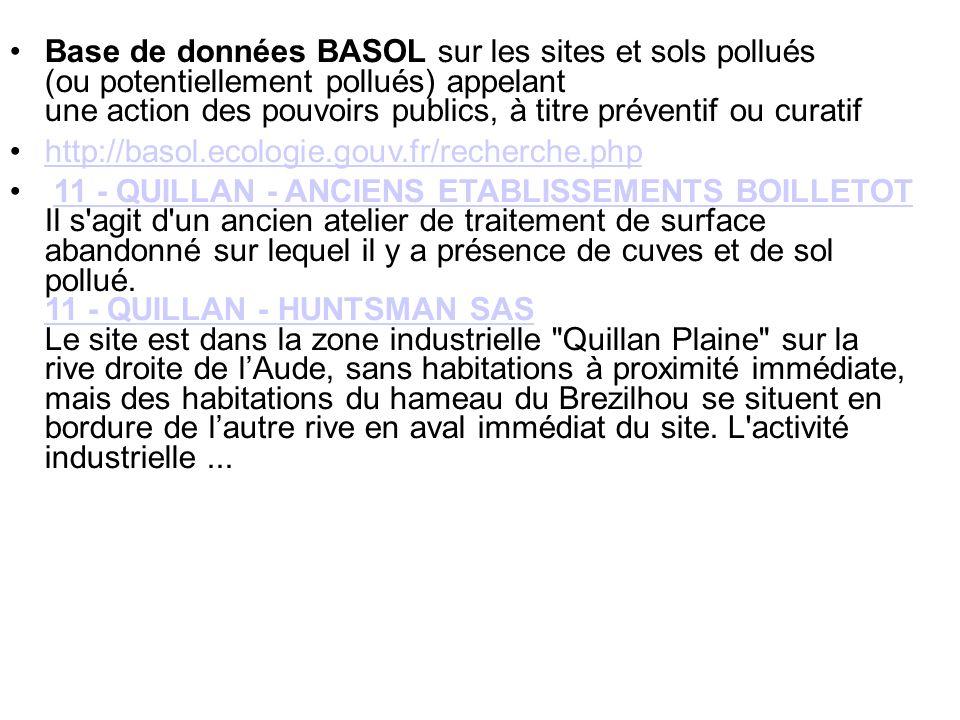 Base de données BASOL sur les sites et sols pollués (ou potentiellement pollués) appelant une action des pouvoirs publics, à titre préventif ou curatif