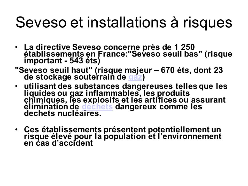 Seveso et installations à risques