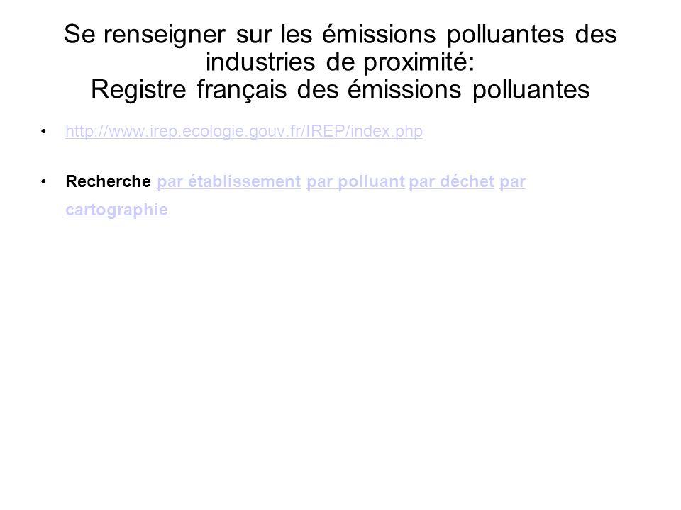 Se renseigner sur les émissions polluantes des industries de proximité: Registre français des émissions polluantes