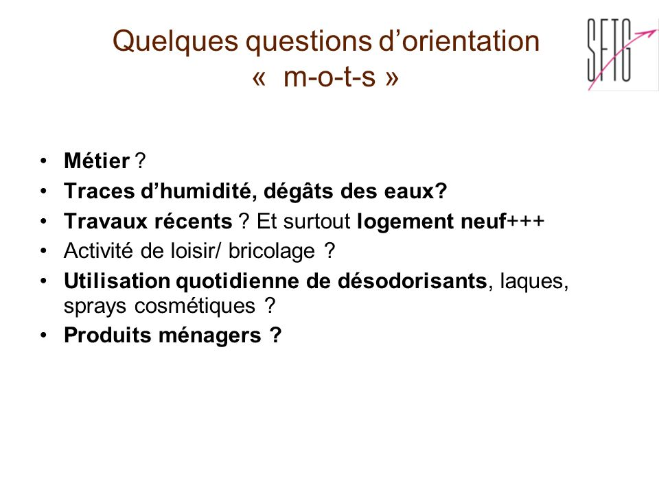 Quelques questions d'orientation