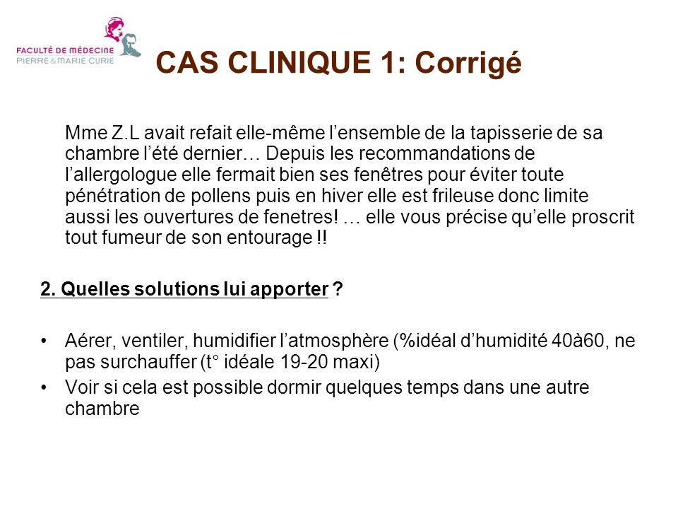 CAS CLINIQUE 1: Corrigé
