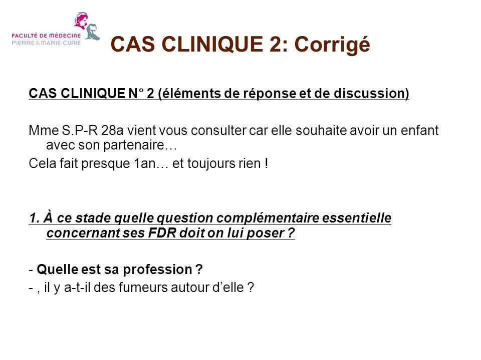 CAS CLINIQUE 2: Corrigé CAS CLINIQUE N° 2 (éléments de réponse et de discussion)