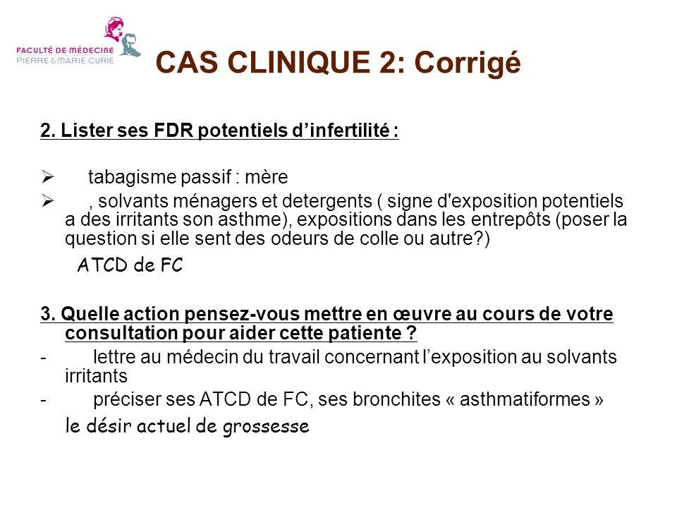 CAS CLINIQUE 2: Corrigé 2. Lister ses FDR potentiels d'infertilité :