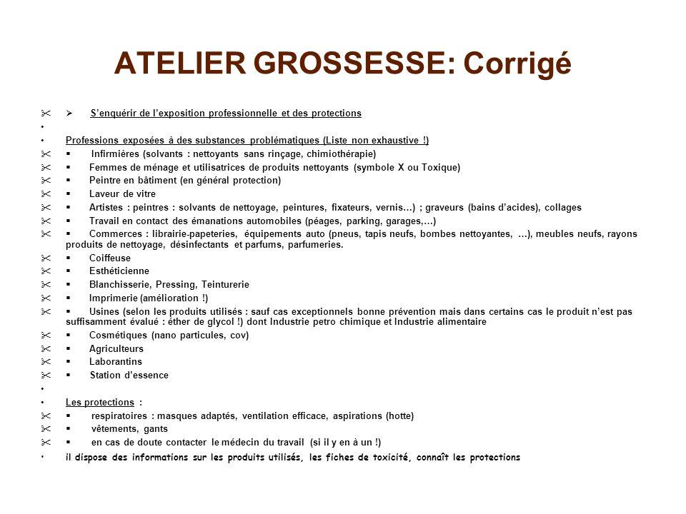 ATELIER GROSSESSE: Corrigé