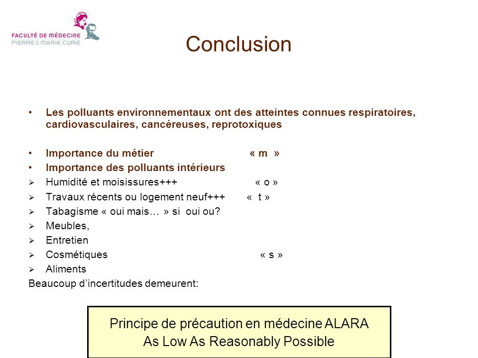 Conclusion Principe de précaution en médecine ALARA