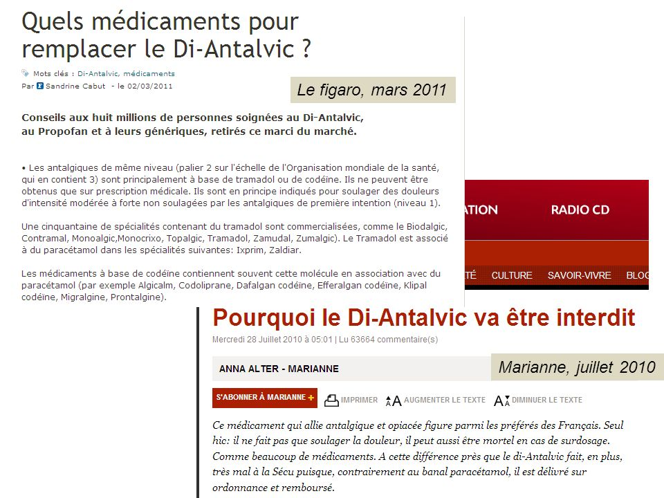 Le figaro, mars 2011 Marianne, juillet 2010 Diantalvic 2,36 euro