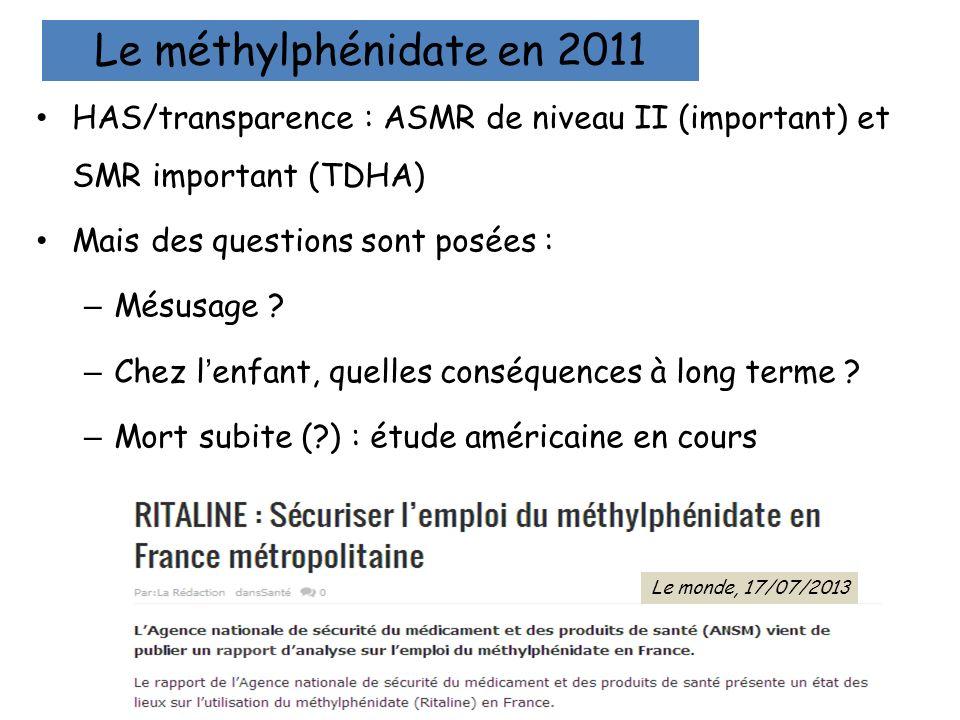 Le méthylphénidate en 2011HAS/transparence : ASMR de niveau II (important) et SMR important (TDHA) Mais des questions sont posées :