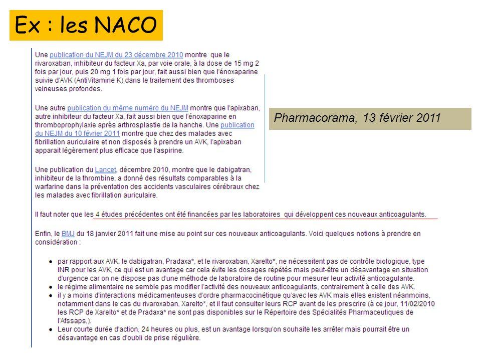 Ex : les NACO Pharmacorama, 13 février 2011