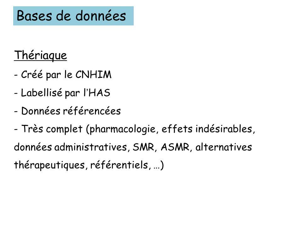 Bases de données Thériaque - Créé par le CNHIM - Labellisé par l'HAS