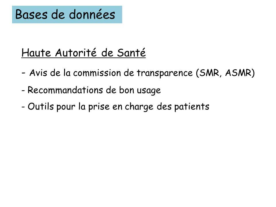 Bases de données Haute Autorité de Santé