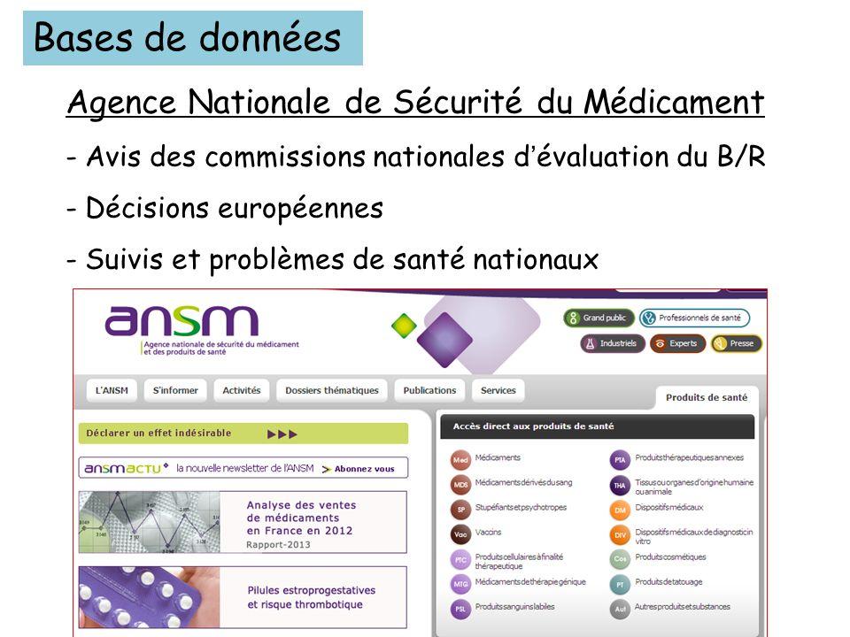 Bases de données Agence Nationale de Sécurité du Médicament