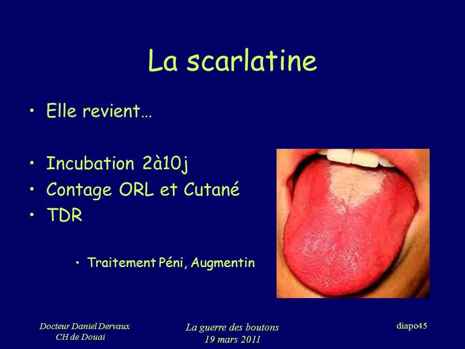 La scarlatine Elle revient… Incubation 2à10j Contage ORL et Cutané TDR
