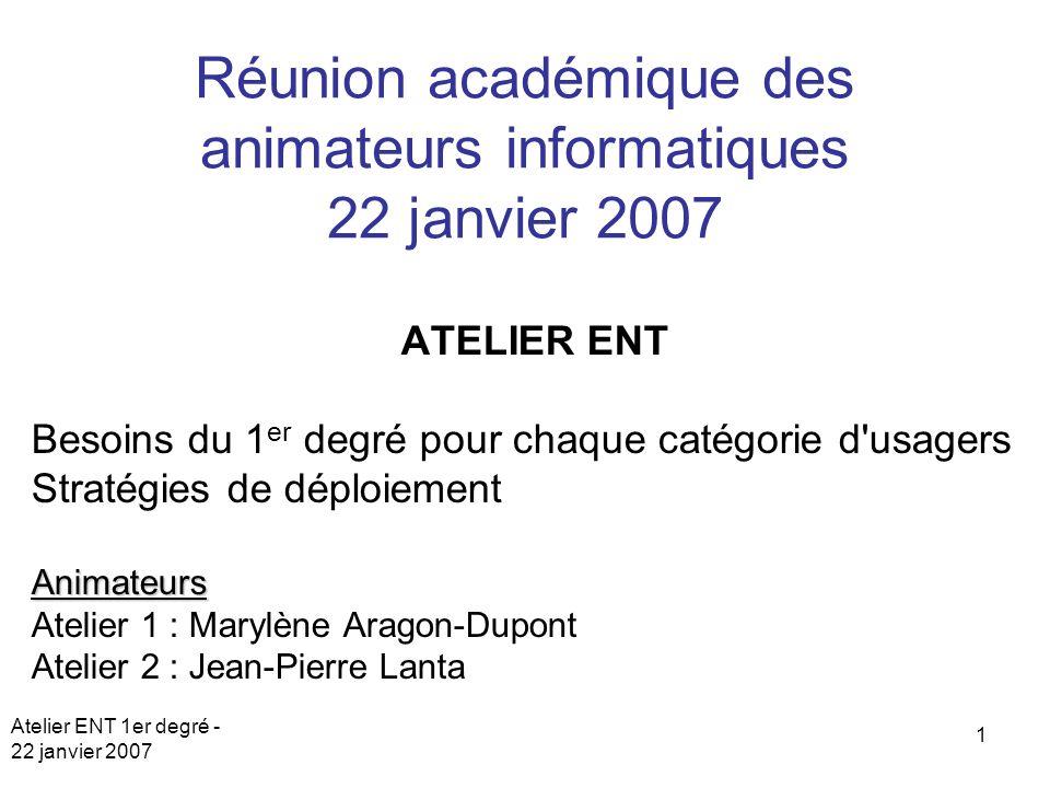 Réunion académique des animateurs informatiques 22 janvier 2007