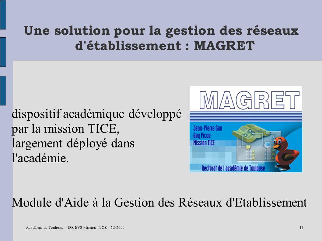 Une solution pour la gestion des réseaux d établissement : MAGRET