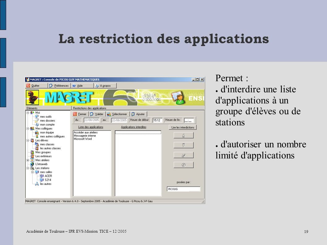 La restriction des applications