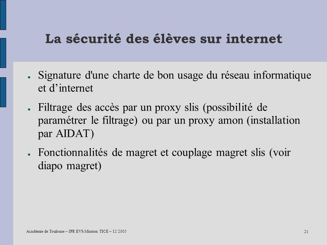 La sécurité des élèves sur internet